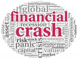 Financial crash concept on white